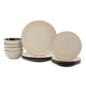 Juliette 12-Piece Sand Ceramic Dinnerware Set (Service for 4)