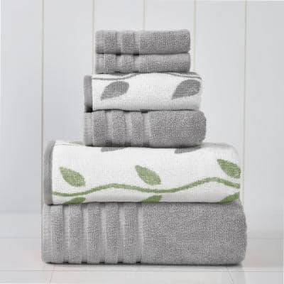 Ash Grey 6-Piece Yarn Dyed Towel Set Organic Vines