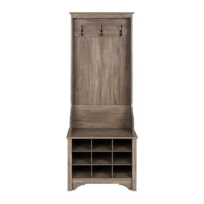 Drifted Gray Narrow Hall Tree with 9 Shoe Cubbies