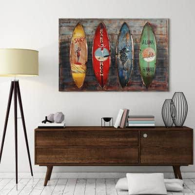 """Canoes"" Metallic Handed Painted Rugged Wooden Blocks Metal Wall Art"