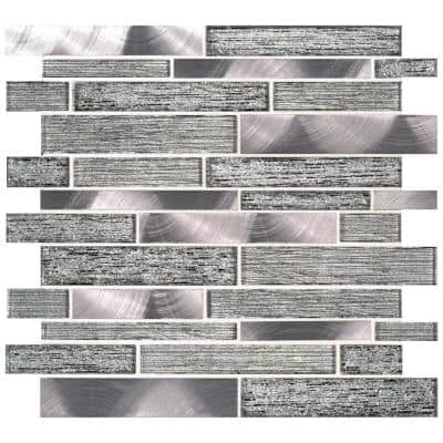 Volcanic Luxe Interlocking 11.73 in. x 11.61 in. x 8 mm Glass/Metal Mesh-Mounted Mosaic Tile (0.95 sq. ft.)