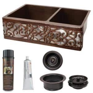 33 in. Copper 60/40 Double Bowl Kitchen Farmhouse Apron Front Scroll Sink and Drain in ORB and NI