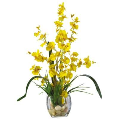 19 in. Dancing Lady Orchid Liquid Illusion Silk Flower Arrangement in Yellow
