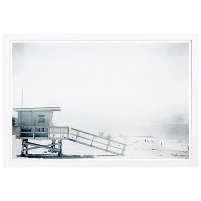 """Nautical and Coastal """"Beach in Bohemia"""" Framed Art Print 13 in. x 19 in."""