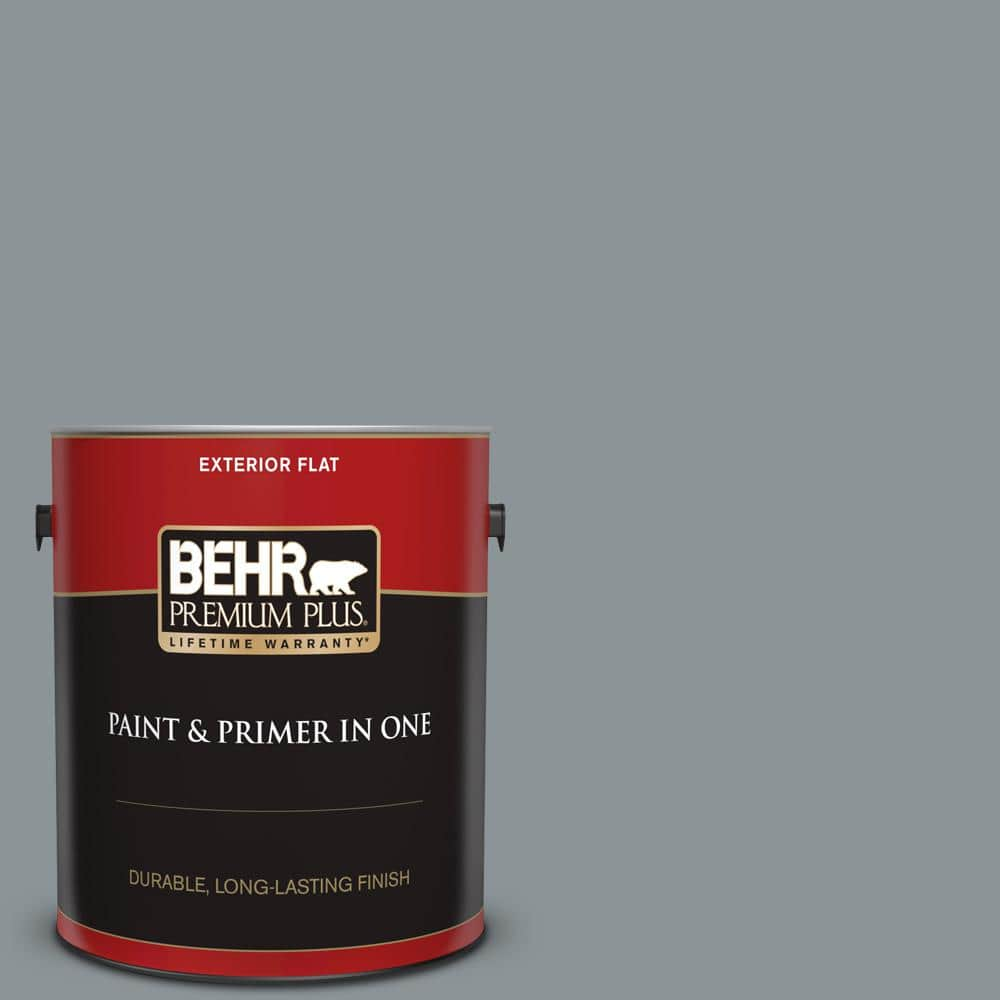 Behr Premium Plus 1 Gal N450 4 Moonquake Flat Exterior Paint And Primer In One 440001 The Home Depot