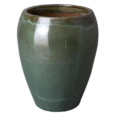 30 in. Round Tea Green Ceramic Tapered Planter