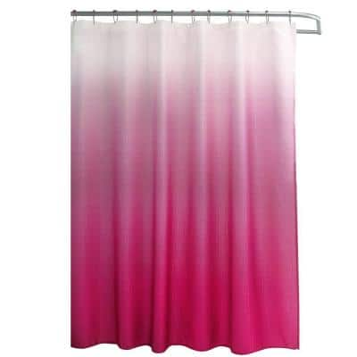Ombre Fuchsia 70 in. x 72 in. Texture Printed Shower Curtain Set with Beaded Rings