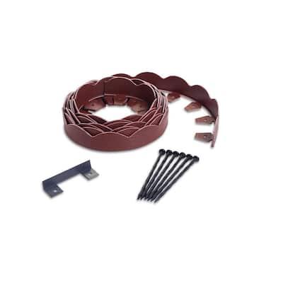 20 ft. Red Scalloped Woodgrain Plastic No-Dig Edging Kit