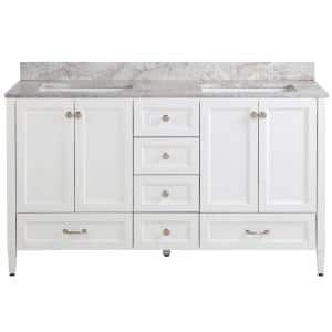 Claxby 61 in. W x 22 in. D Bath Vanity in White with Stone Effect Vanity Top in Winter Mist with White Sink