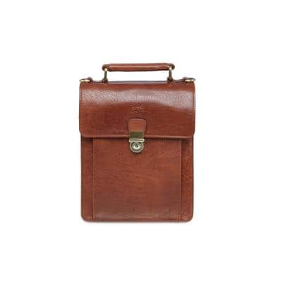 Arizona 12 in. W x 3.5 in. D x 8.25 in. H Cognac Leather Crossbody Bag with Back Organizer