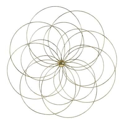 Gold Delicate Flower Medallion Metal Wall Decor
