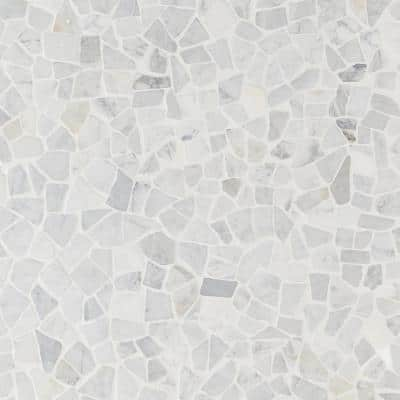 Countryside Tumbled Carrara 11.81 in. x 11.81 in. Natural Marble Floor and Wall Mosaic Tile (0.96 sq. ft./Each)