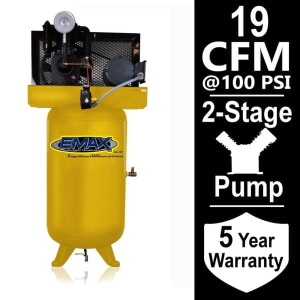Emax Industrial Series 80 Gal 5 Hp 1 Phase Electric Air Compressor With Pressure Lubricated Pump Hi05v080i1 The Home Depot