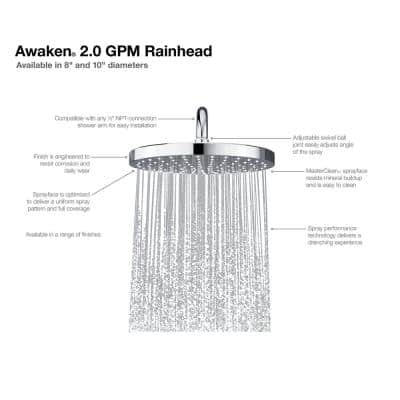 Awaken 1-Spray Pattern with 2.0 GPM 10 in. Ceiling Mounted Rain Fixed Shower Head in Oil-Rubbed Bronze