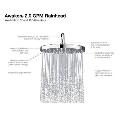 Awaken 1-Spray Patterns 8 in. Ceiling Mount Rain Fixed Shower Head in Vibrant Brushed Nickel