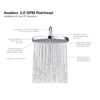 Awaken 1-Spray Patterns 10 in. Single Ceiling Mount Rain Fixed Shower Head in Vibrant Brushed Nickel