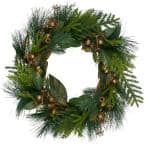 20 in. Unlit Leaves Berry and Cedar Artificial Christmas Wreath