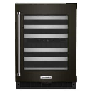 24 in. Dual Zone 46-Bottle Built-In Undercounter Wine Cooler in Black Stainless