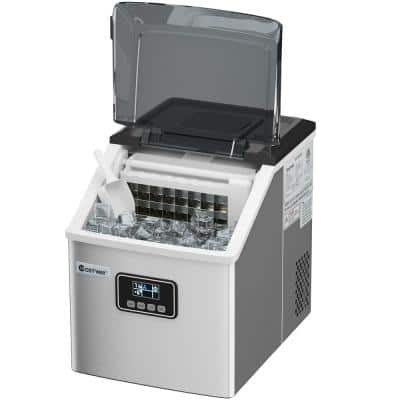 11.5 in. W 48 lbs./24-Hour Portable Ice Maker in Silver Self-Clean wit-Hour LCD Display