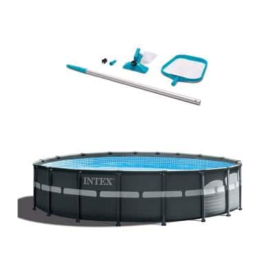 18 ft. x 52 in. Round Metal Frame Pool Ultra XTRA Pool Set and Cleaning Kit with Vacuum, Skimmer and Pole