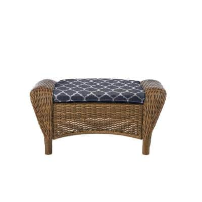 Beacon Park Brown Wicker Outdoor Patio Ottoman with CushionGuard Midnight Trellis Navy Blue Cushions