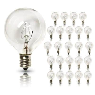 Indoor/Outdoor Weatherproof G40 Replacement Party String Light Bulb with E12 Base (25-Pack)