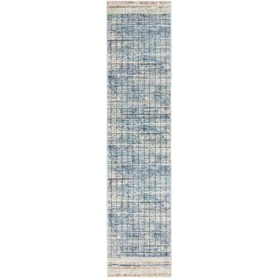 Concerto Blue 2 ft. x 10 ft. Abstract Contemporary Runner Rug