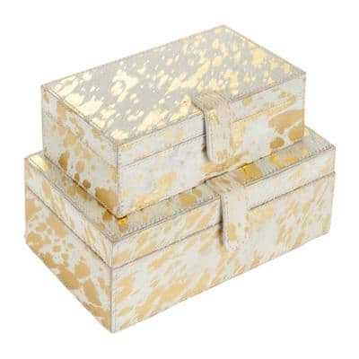 Rectangular White And Gold Metallic Hair On Hide Patterned Box, Set Of 2: 9 in., 10 in.