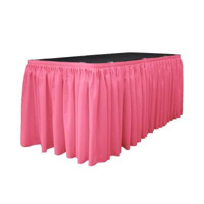 14 ft. x 29 in. Long Hot Pink Polyester Poplin Table Skirt with 10 L-Clips