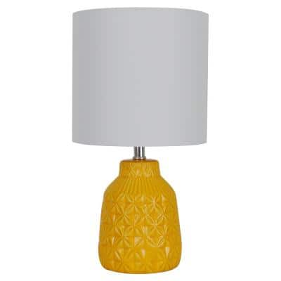 15 in. Turmeric Yellow Ceramic Table Lamp with White Fabric Shade