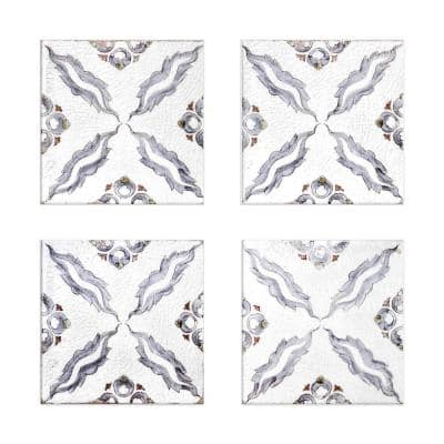 Machu 6 in. x 6 in. Blue, Grey and White Multicolor Ceramic Decorative Wall Tile (4-Pack)