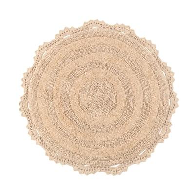 Beige 3 ft. Round Winchester Cotton Crochet Border Bath Mat