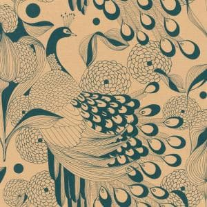 Illustrated Peacocks Wallpaper Gold & Teal Paper Strippable Roll (Covers 57 sq. ft.)