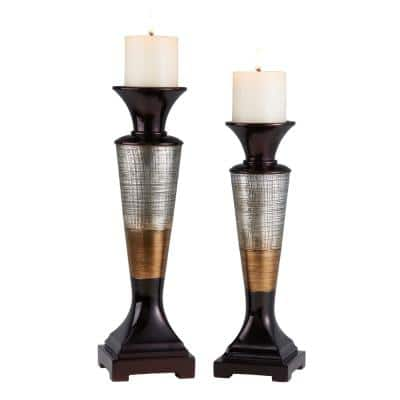 Silver, Bronze And Brown Polyresin Naomi Candleholders (Set of 2)