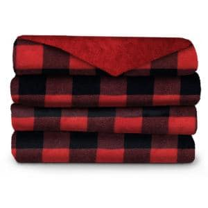 50 in. x 60 in. Red Plaid Micro Plush Electric Blanket