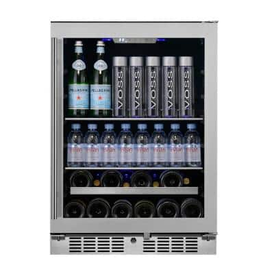 Transcend 24 in. 84-Can and 13-Bottle Seamless Stainless Steel Single Door Single Zone Built-In Beverage and Wine Cooler