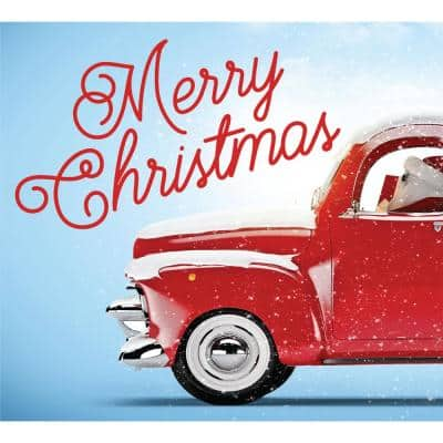 7 ft. x 8 ft. Red Truck Christmas-Christmas Garage Door Decor Mural for Split Car Garage