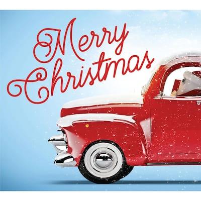 7 ft. x 8 ft. Red Truck Christmas-Christmas Garage Door Decor Mural for Split Car Garage