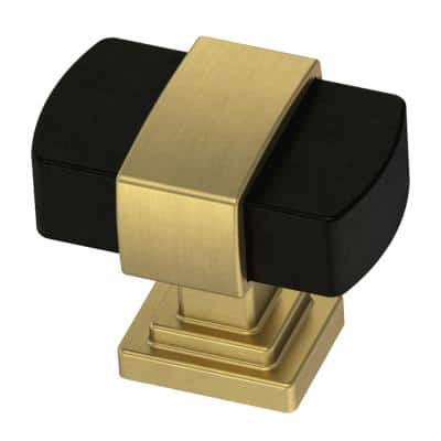 Wrapped Square 1-3/16 in. (30 mm) Brushed Brass and Matte Black Cabinet Knob