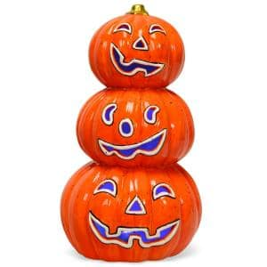 Pre-Lit Halloween Pumpkin Lantern 3-Tiers Hand-Painted Ceramic Pumpkins