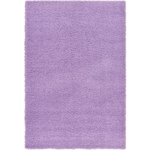 Solid Shag Lilac 6 ft. x 9 ft. Area Rug