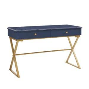 47 in. Rectangular Blue/Matte Gold 2 Drawer Writing Desk with Built-In Storage