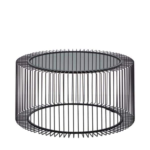 Litton Lane Round Black Metal Coffee, Round Metal Coffee Table With Glass Top
