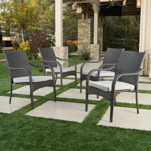 Jaxson Grey Stackable Wicker Outdoor Dining Chair with Silver Cushion (4-Pack)