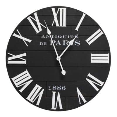 """24"""" Vincent Black & White Wood / Wall Clock"""