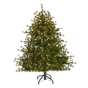 5 ft. Colorado Mountain Pine Artificial Christmas Tree with 250 Clear Lights, 669 Bendable Branches and Pine Cones