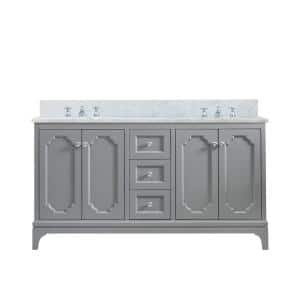 Queen 60 in. W x 22 in. D Bath Vanity in Cashmere Grey with Marble Bath Vanity Top in White with White Basin