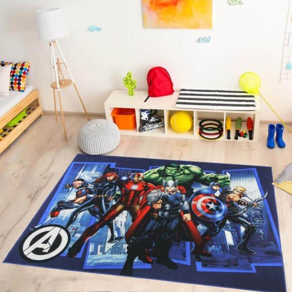 Marvel Avengers City Multi Colored 5 Ft X 7 Ft Indoor Polyester Area Rug 47328 The Home Depot