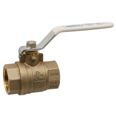 1/2 in. Brass Lead-Free Threaded Two-Piece Full Port Ball Valve