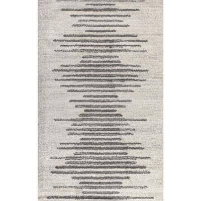 Aya Berber Stripe Geometric Cream/Gray 5 ft. x 8 ft. Area Rug